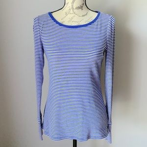 Talbots Small Blue/White Stretch Weekend Tee